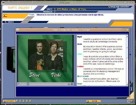 Captura del curso ejecutándose en GNU/Linux